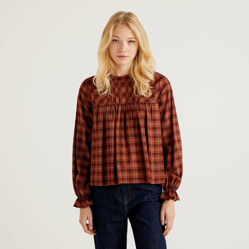 Check blouse with frill