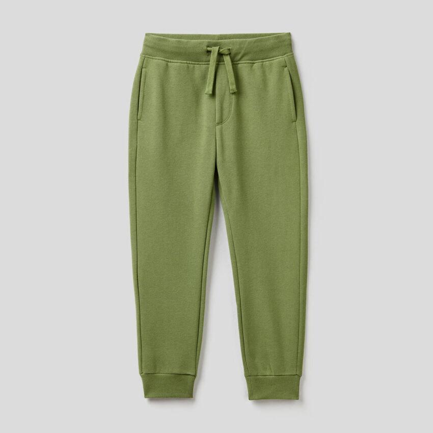 Παντελόνι φούτερ slim fit πράσινο militaire