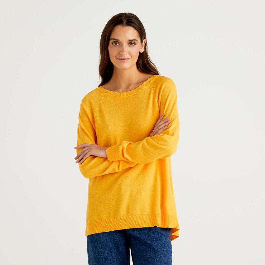 Μπλούζα κίτρινη με πιέτα στο πίσω μέρος