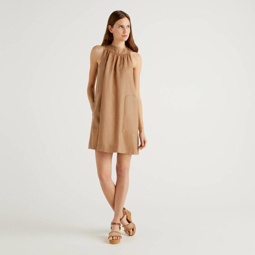 Φόρεμα αμάνικο 100% λινό
