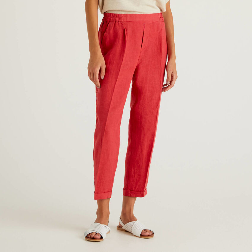 Cropped trousers in pure linen
