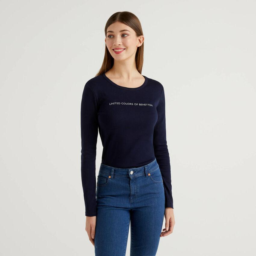 T-shirt μπλε σκούρο μακρυμάνικο από 100% βαμβακερό