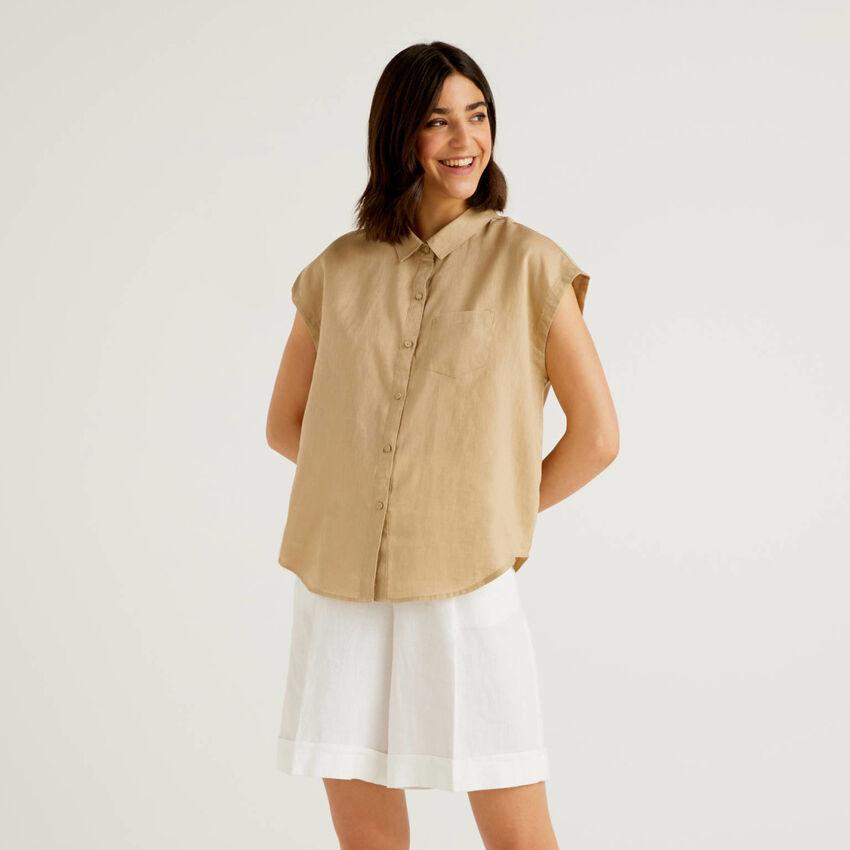 100% linen short sleeve shirt