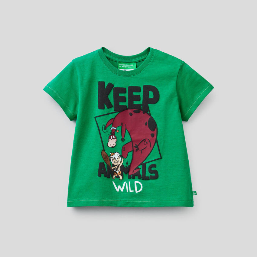 T-shirt πράσινο με τύπωμα The Flintstones