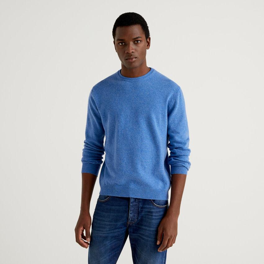 Μπλούζα με λαιμόκοψη γαλάζια από αγνό παρθένο μαλλί