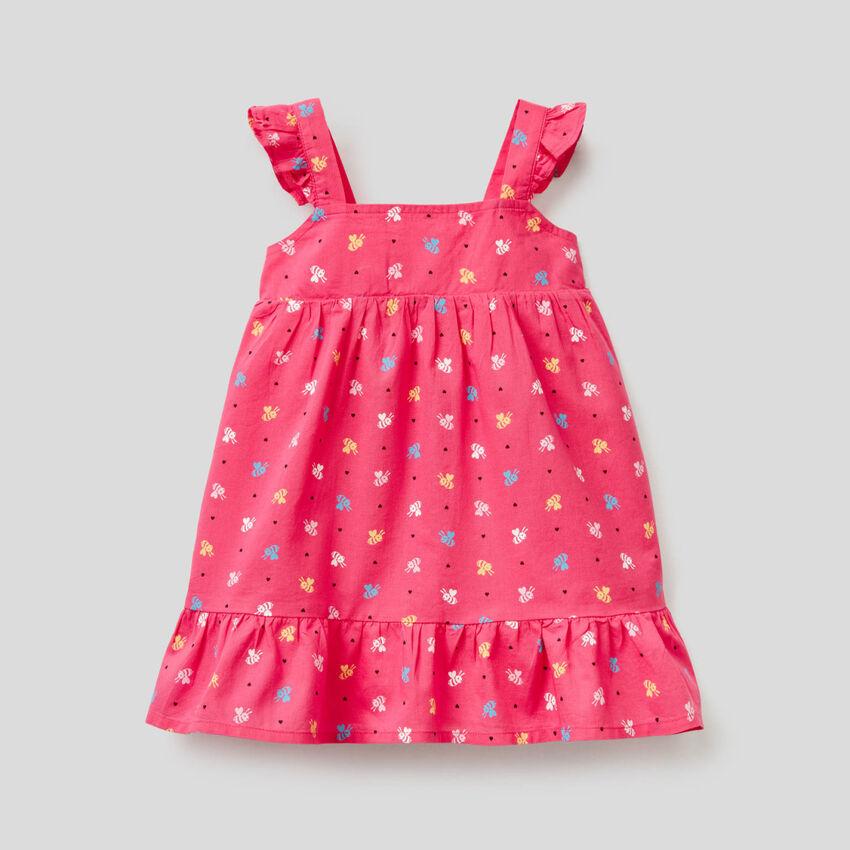 Φόρεμα με τύπωμα από 100% βαμβακερό