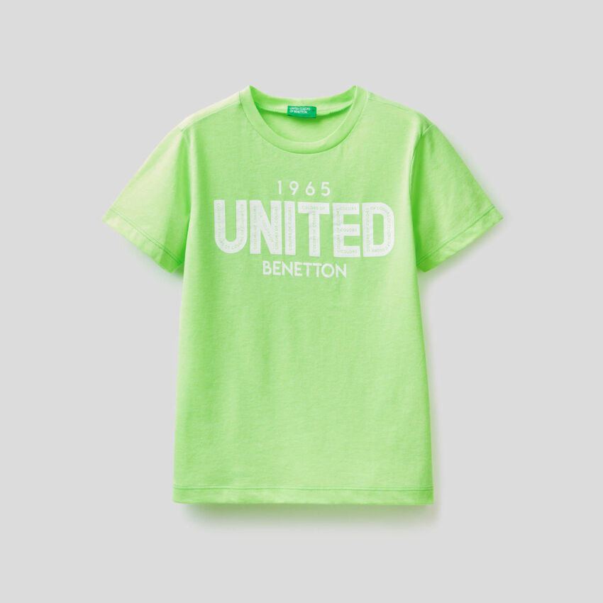 T-shirt fluo με τυπωμένο λογότυπο
