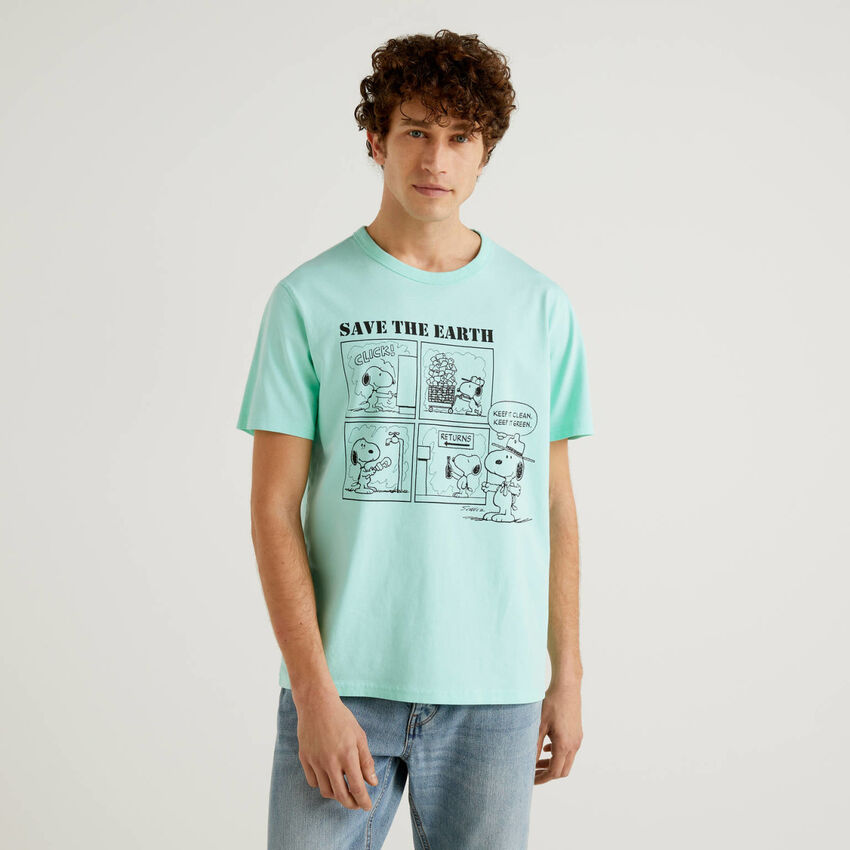T-shirt Peanuts aqua πράσινο