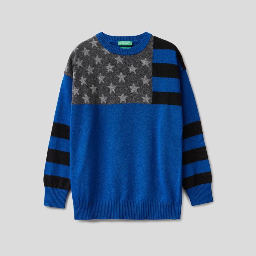 Μπλούζα bluette με διακοσμητική σημαία