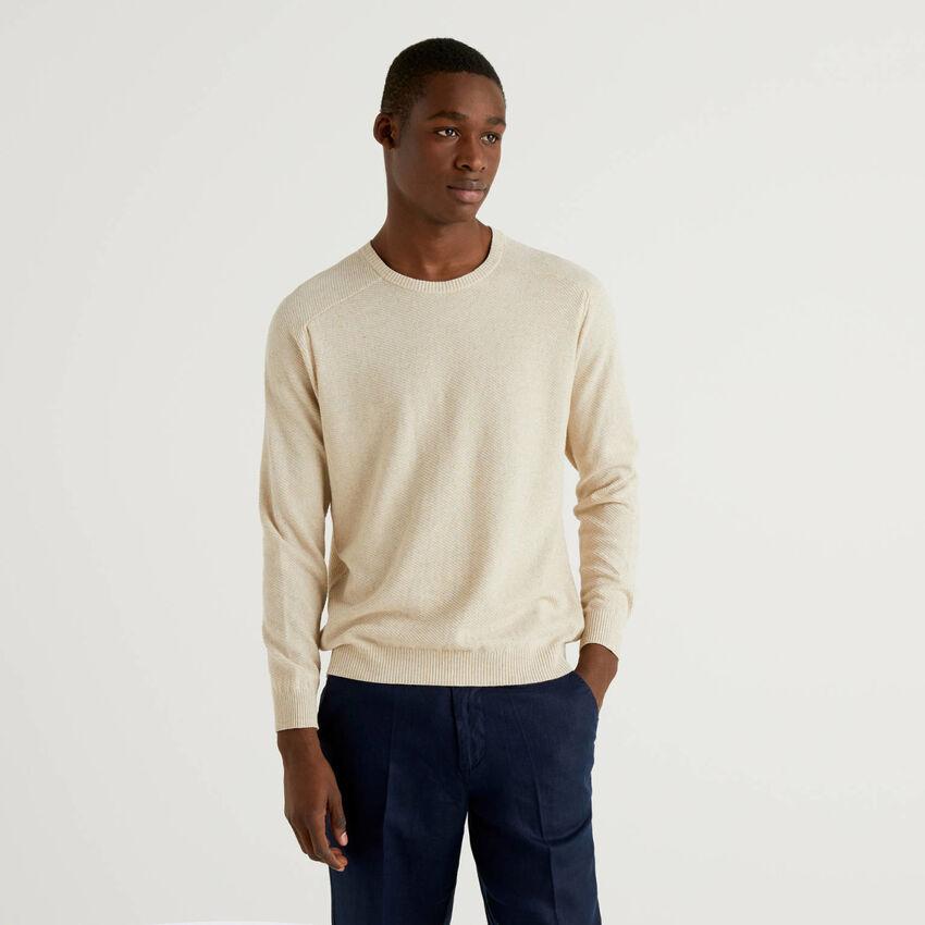 Μπλούζα από βαμβακερό ανάμεικτο λινό