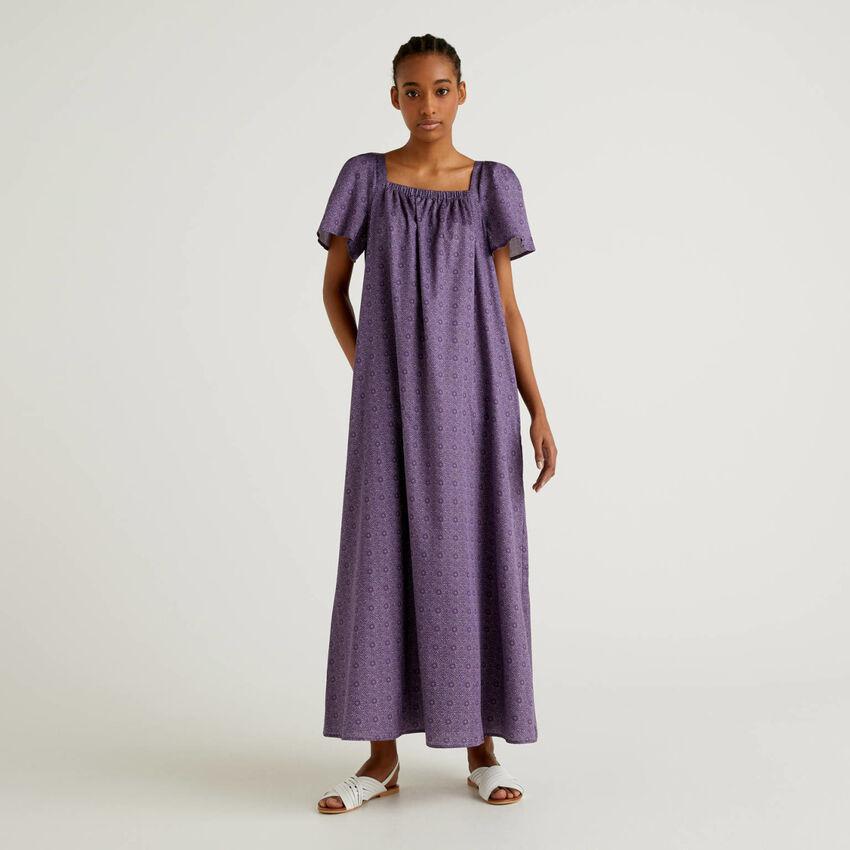 Φόρεμα μακρύ από βαμβακερό με τύπωμα