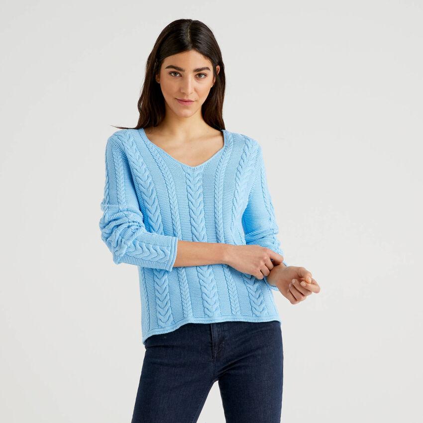 Μπλούζα με πλεξούδες από αγνό βαμβακερό