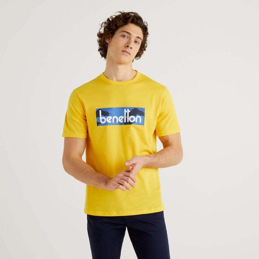 T-shirt κίτρινο με τύπωμα λογότυπο