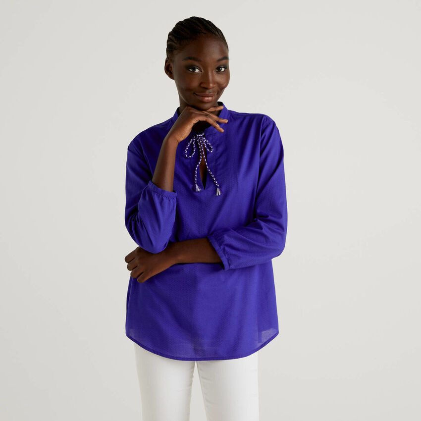 Long sleeve blouse in 100% cotton