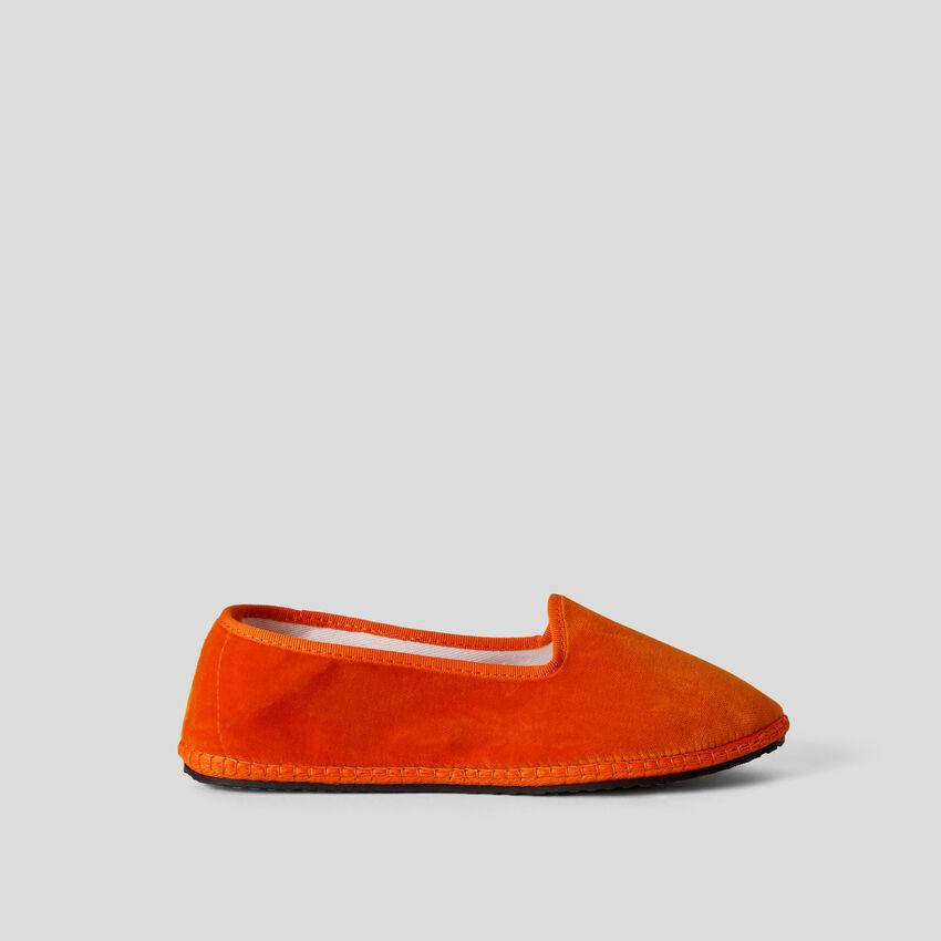 Παπούτσια friulane πορτοκαλί από βελούδο