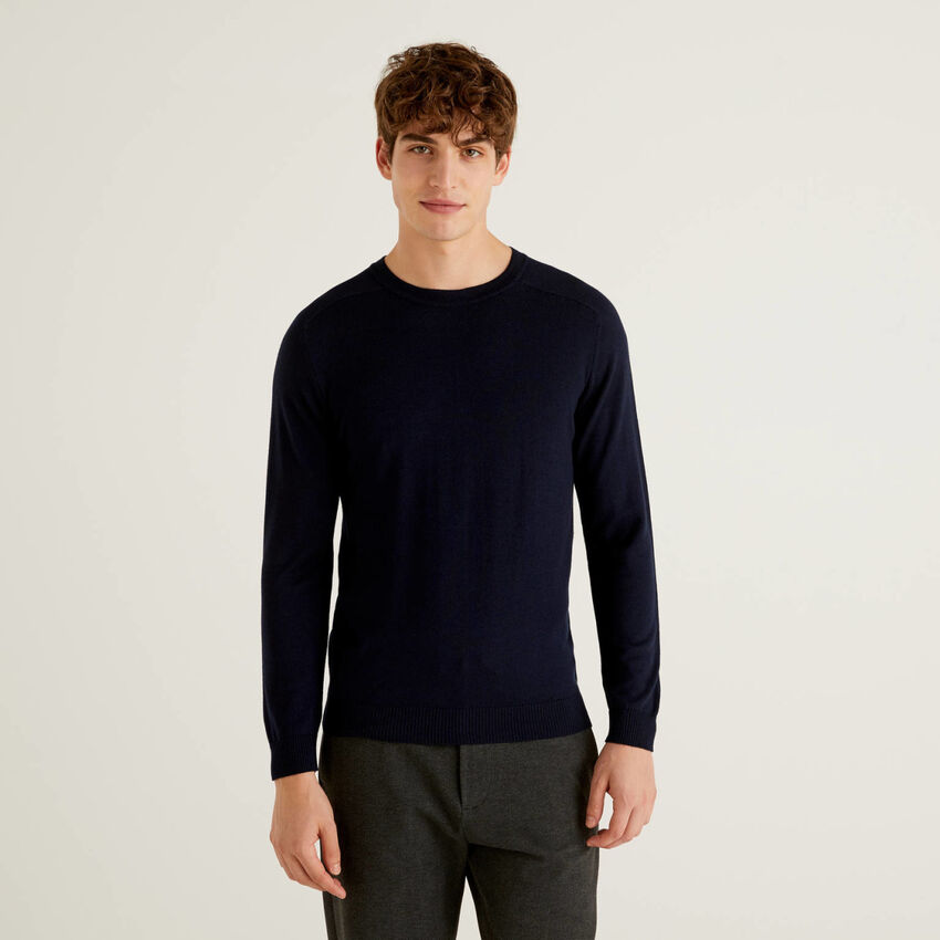 Solid colored crew neck sweater