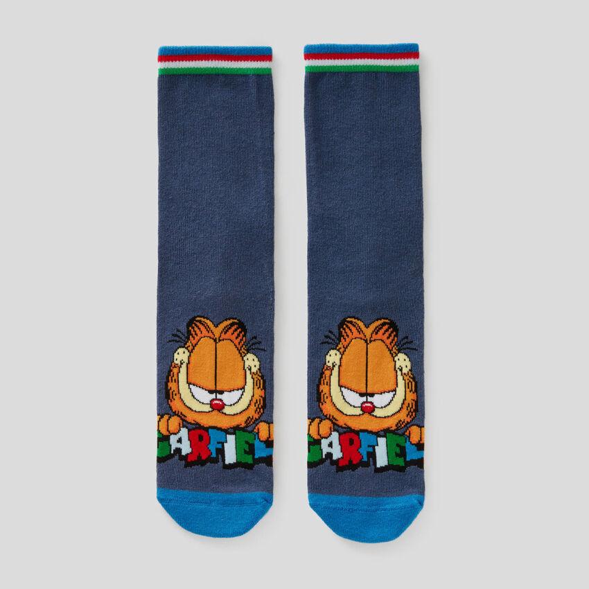 Καλτσάκια μπλε με σχέδια Garfield