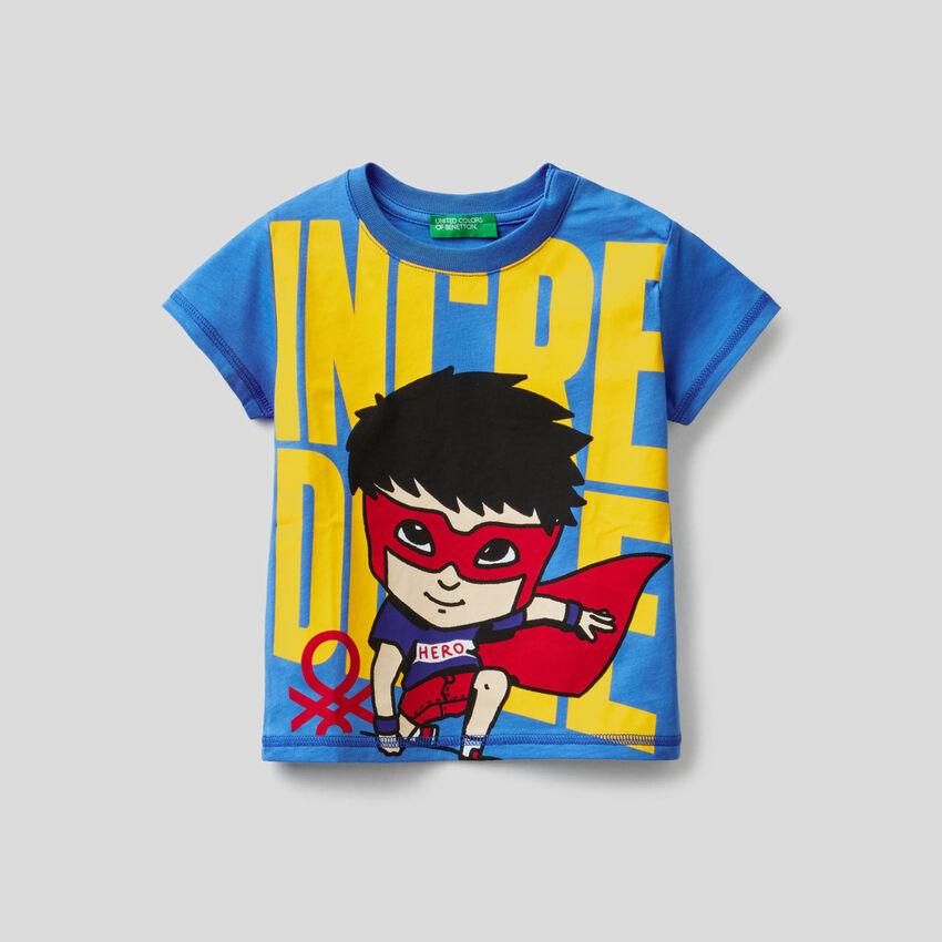 T-shirt 100% βαμβακερό με τύπωμα σούπερ ήρωα