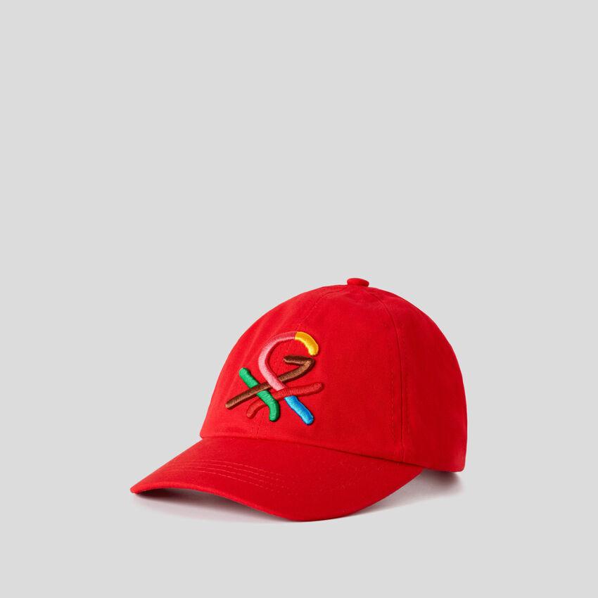 Καπέλο κόκκινο με κεντητό λογότυπο by Ghali