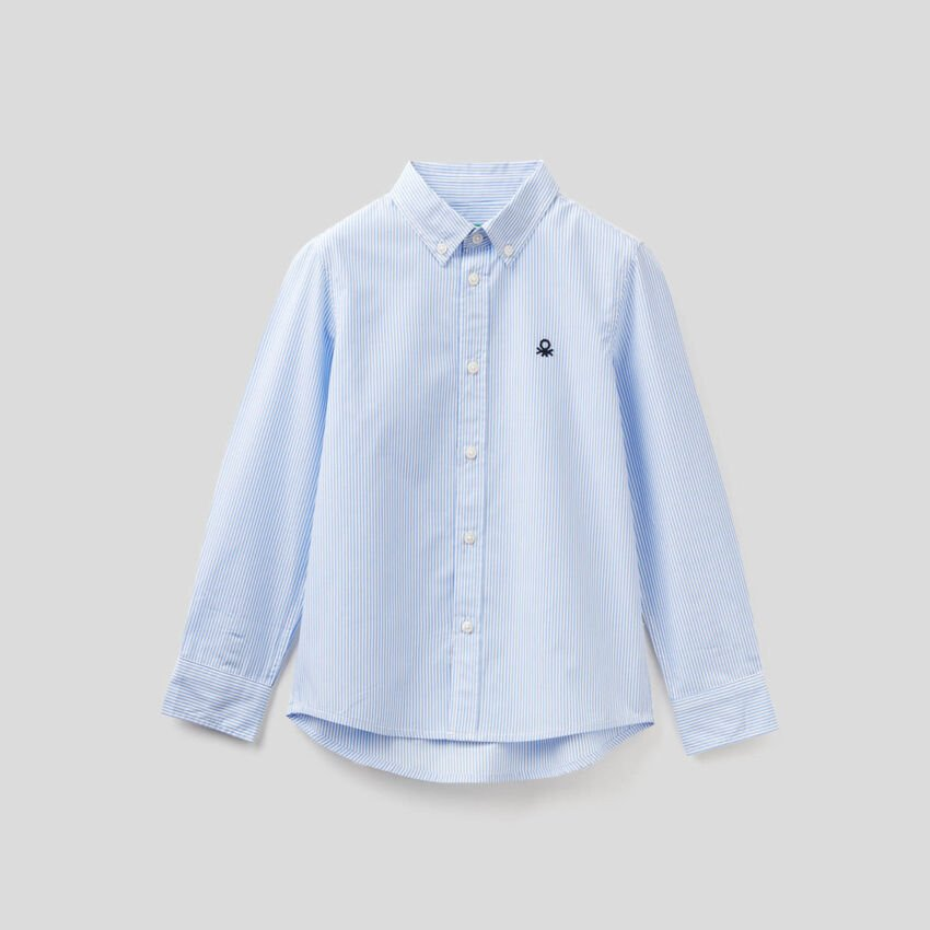 Sporty striped shirt in pure cotton