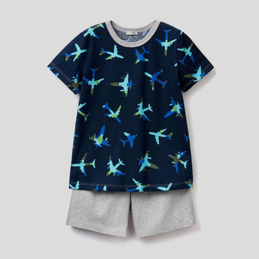 Πιτζάμα με t-shirt και βερμούδα