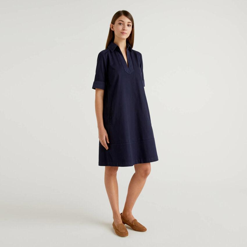 Φόρεμα εβαζέ από βαμβακερό stretch