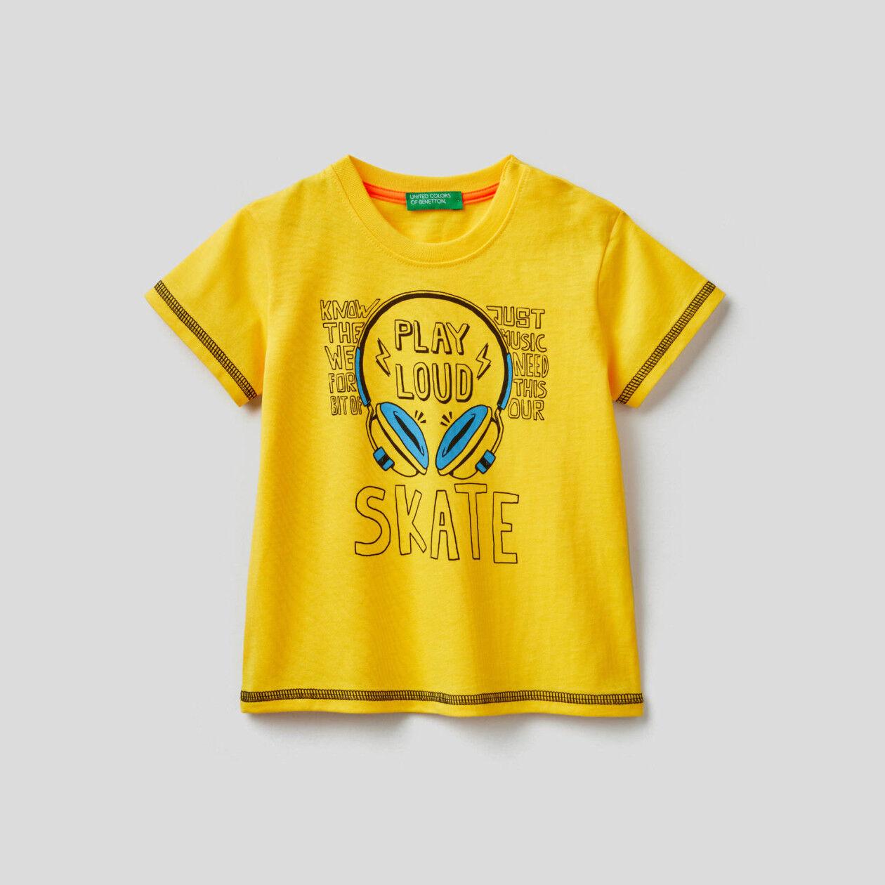 T-shirt από βαμβακερό με τύπωμα skateboard