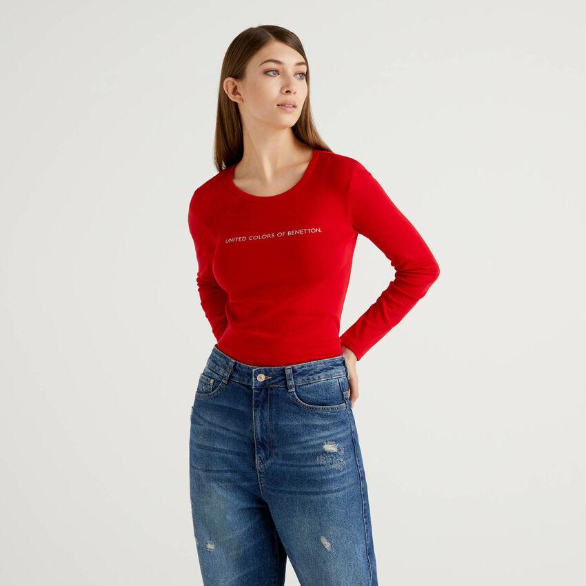T-shirt κόκκινο μακρυμάνικο από 100% βαμβακερό