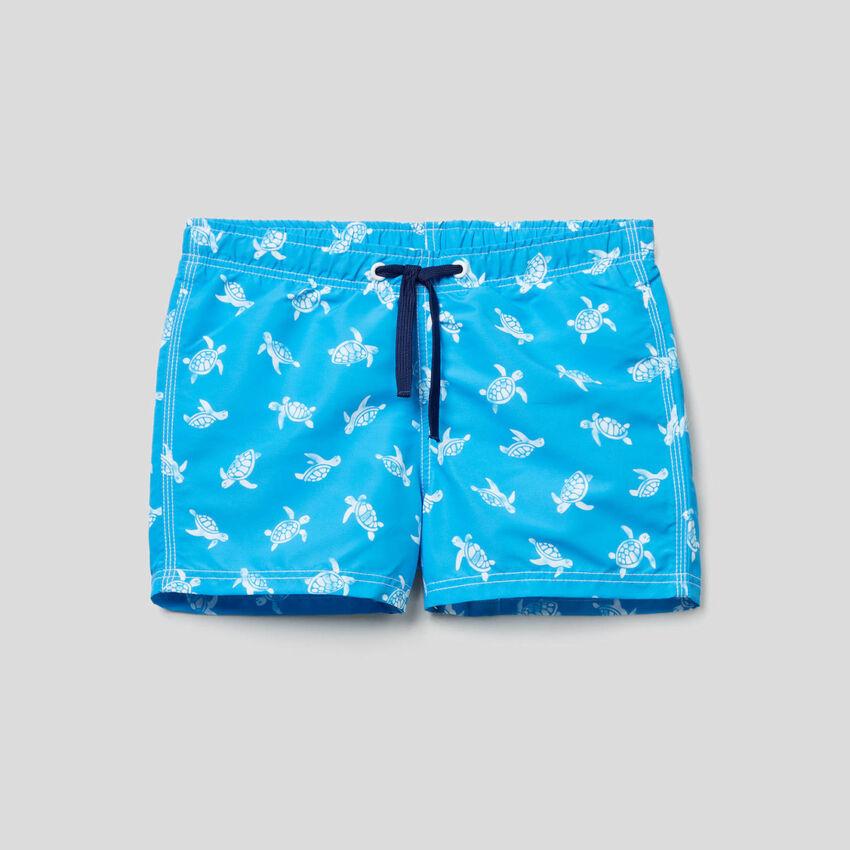 Turtle pattern swim trunks