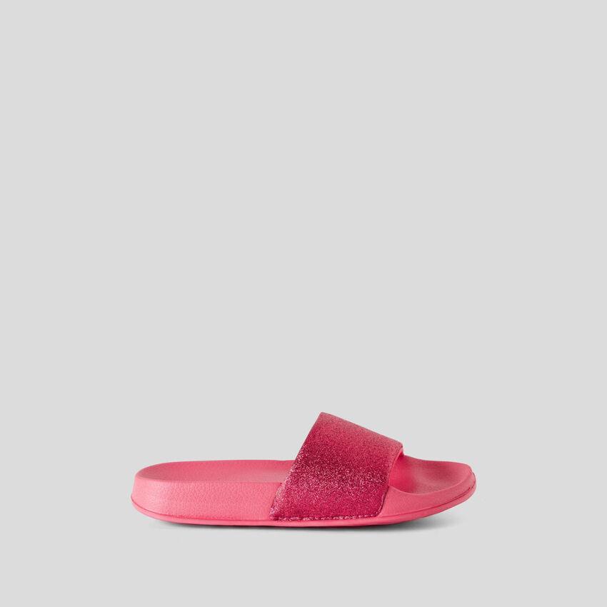 Glittery fuchsia slippers