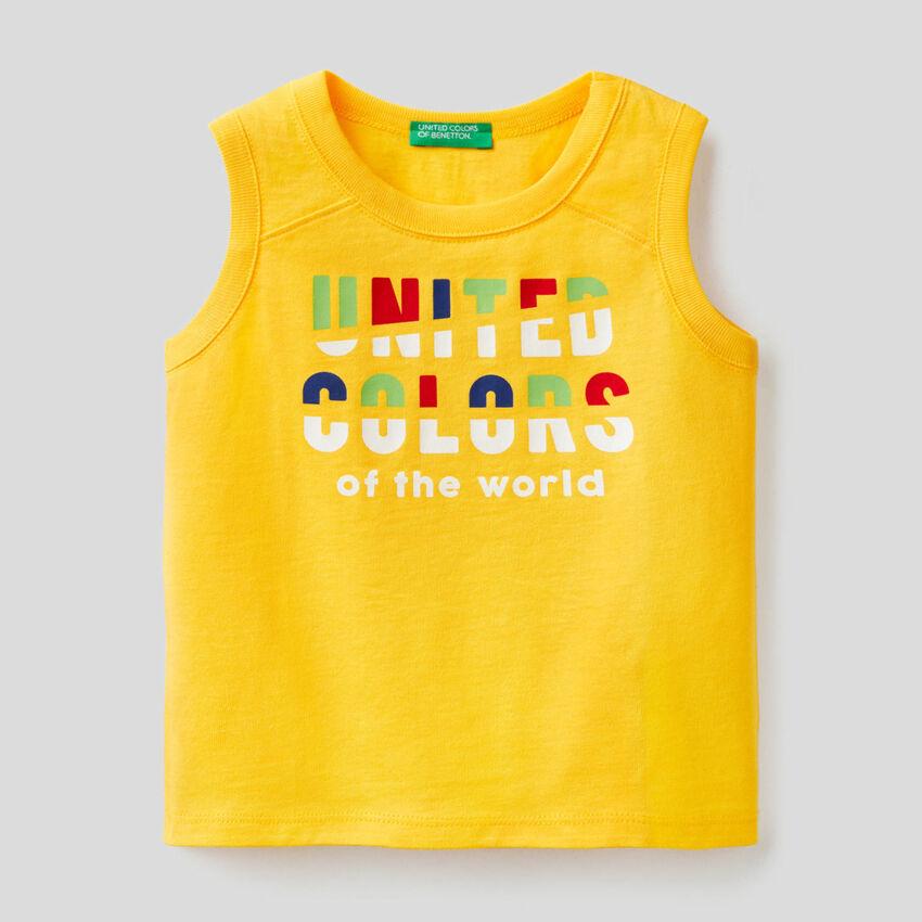 Φανέλα κίτρινη με τύπωμα