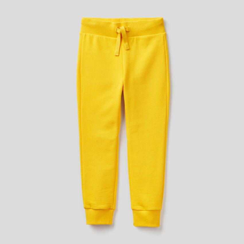 Παντελόνι φούτερ αθλητικό κίτρινο
