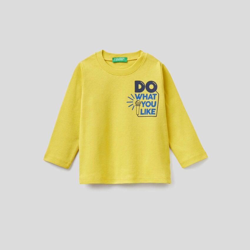 T-shirt μακρυμάνικο με τύπωμα σλόγκαν