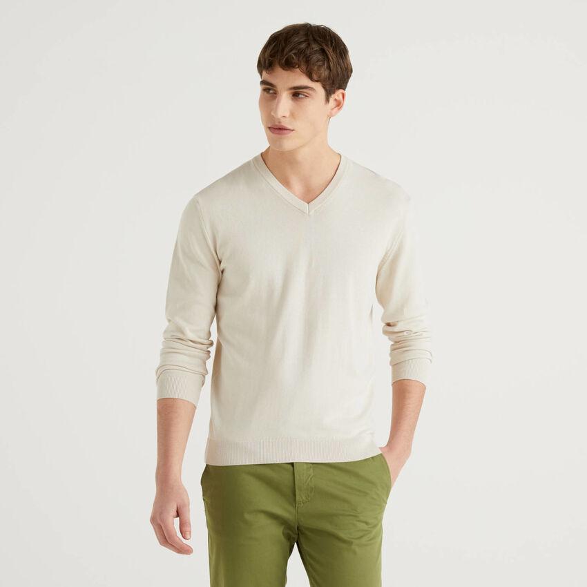 Μπλούζα από αγνό βαμβακερό με V λαιμόκοψη