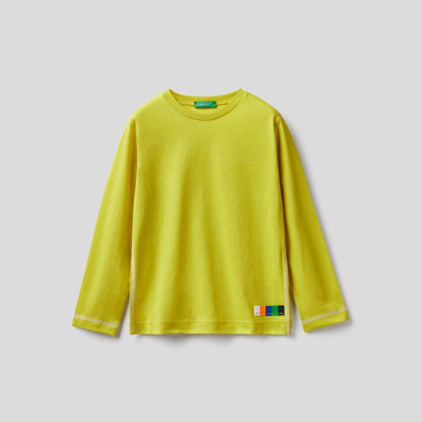 T-shirt κίτρινο μακρυμάνικο από 100% βαμβακερό