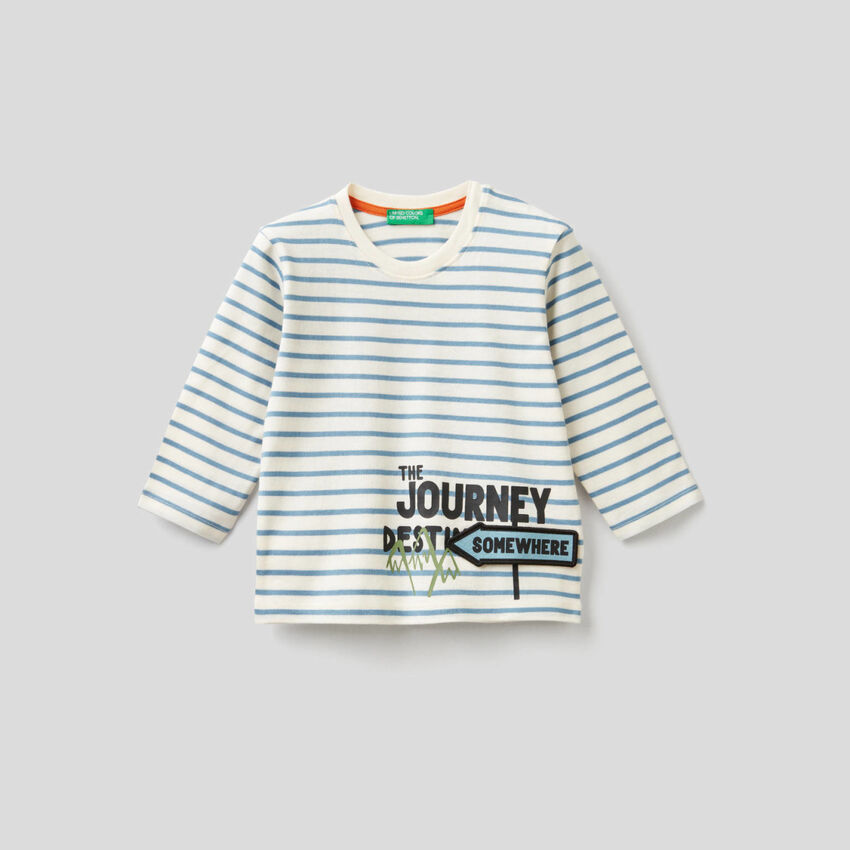 T-shirt ριγέ με διακοσμητικά 3D