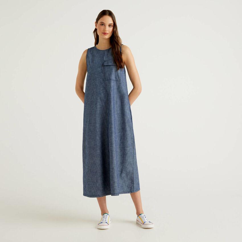 Μάξι φόρεμα αμάνικο εφέ τζιν