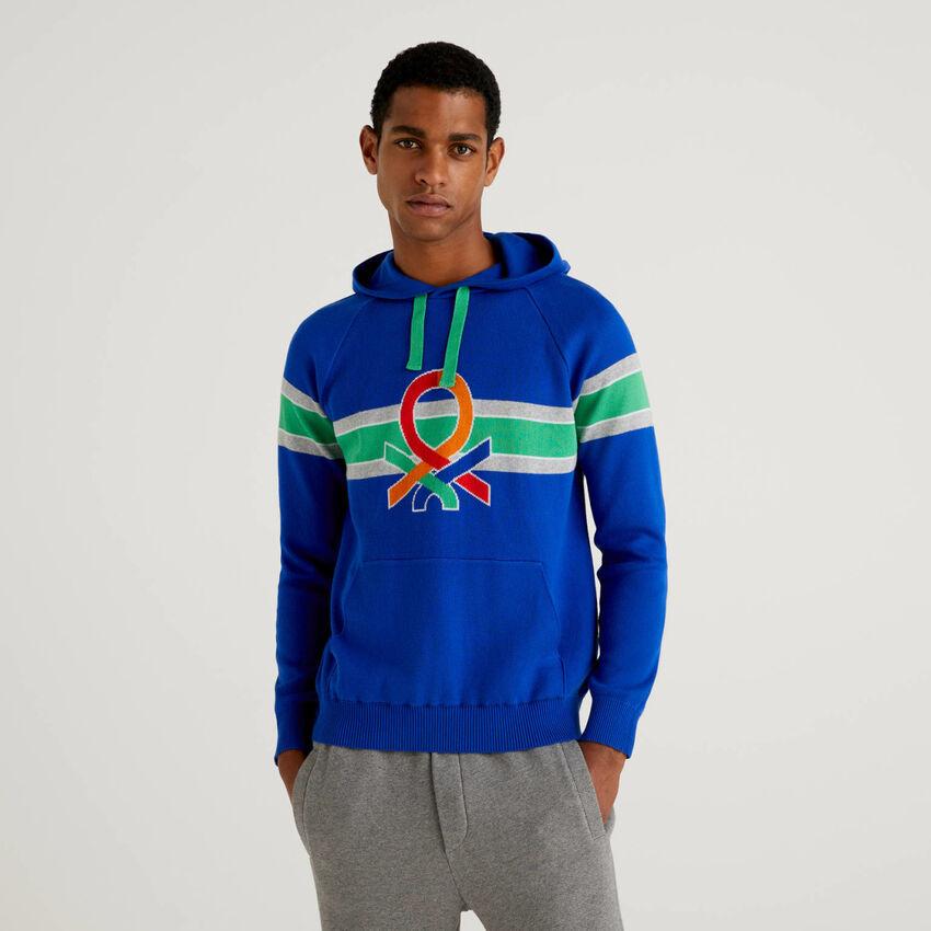 Μπλούζα με κουκούλα και πολύχρωμο λογότυπο