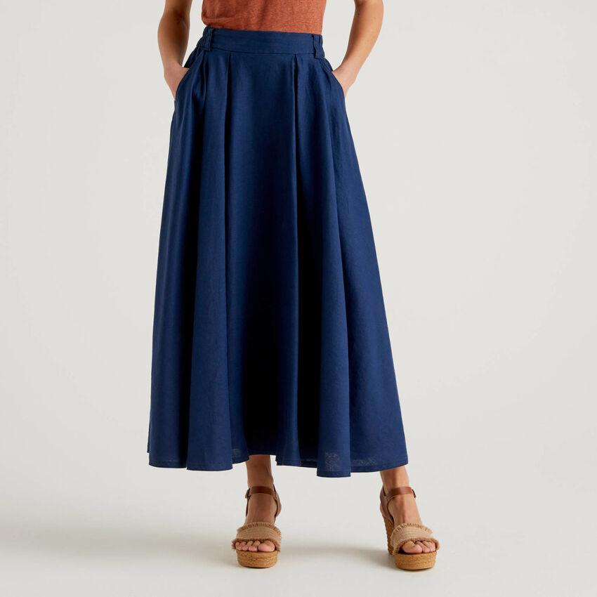Long skirt in 100% linen