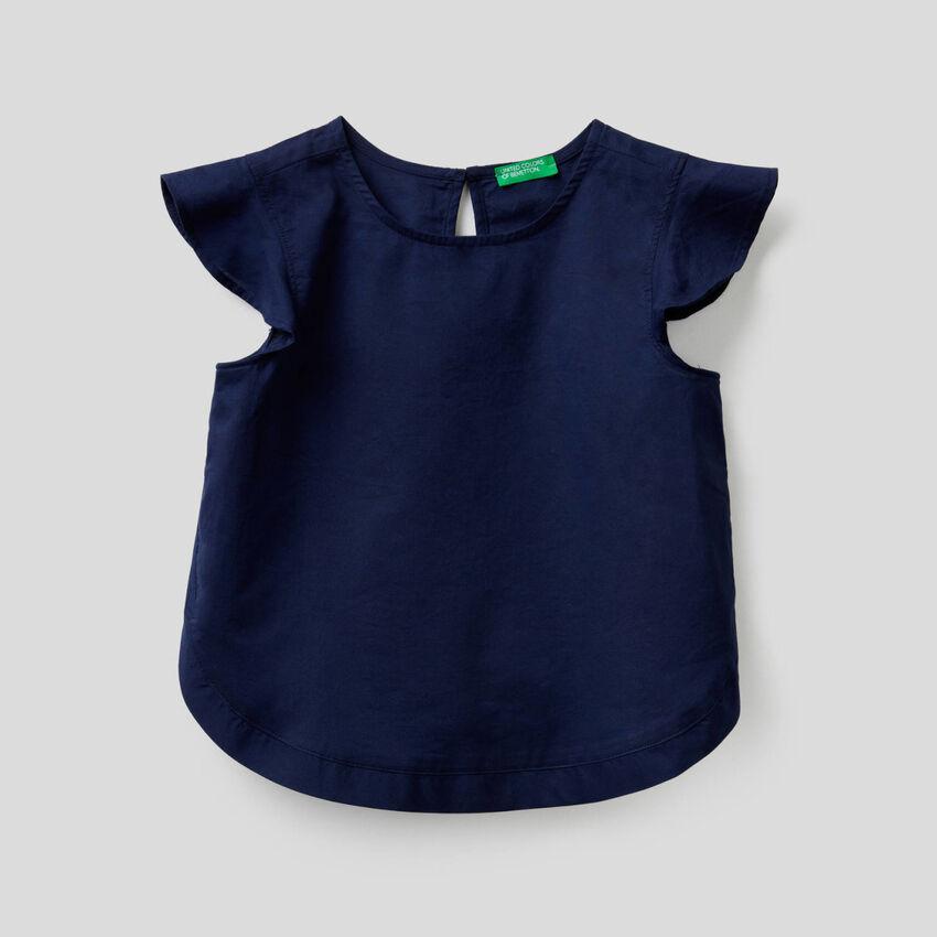 Μπλούζα από βαμβακερό με μανίκια βολάν