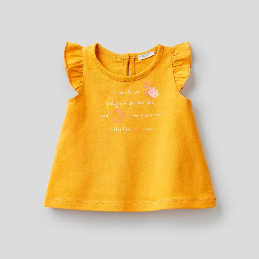 T-shirt με μανίκια φτερά
