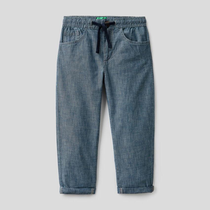 Παντελόνι chambray από αγνό οργανικό βαμβακερό