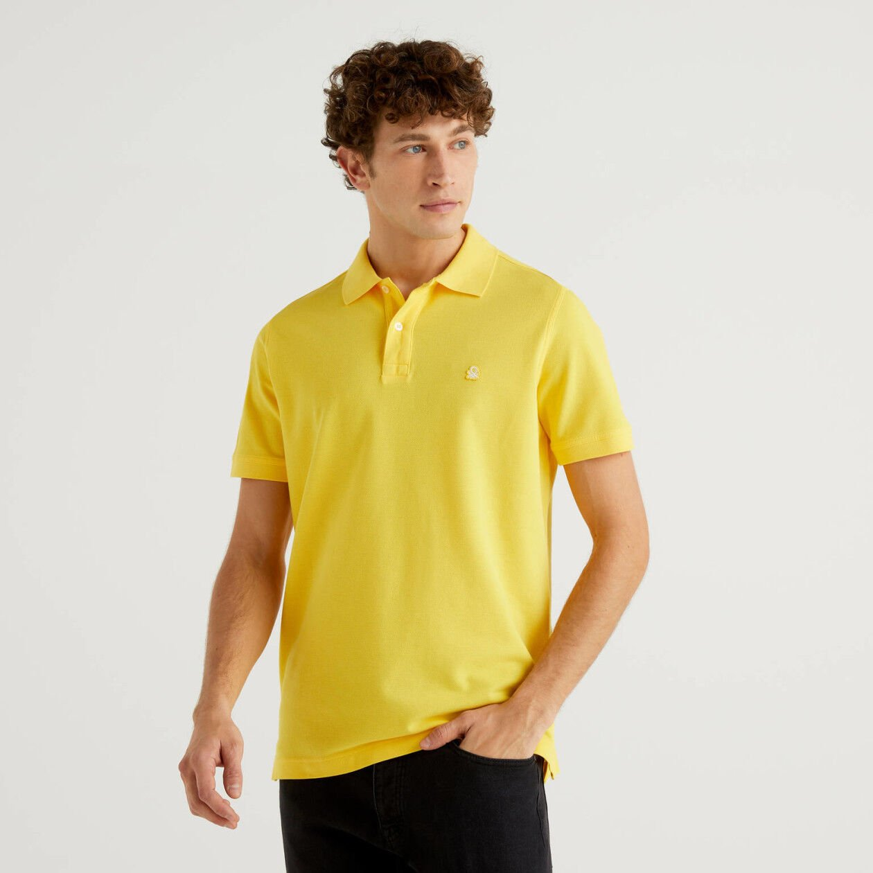 Polo regular fit κίτρινο